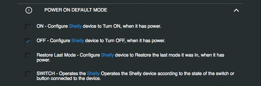 011 Shelly On power Turn Off