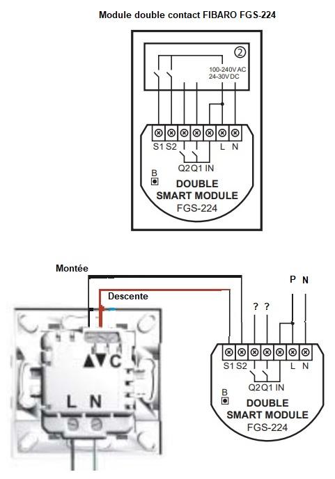 plan cablage télécommande centralisée et double contact