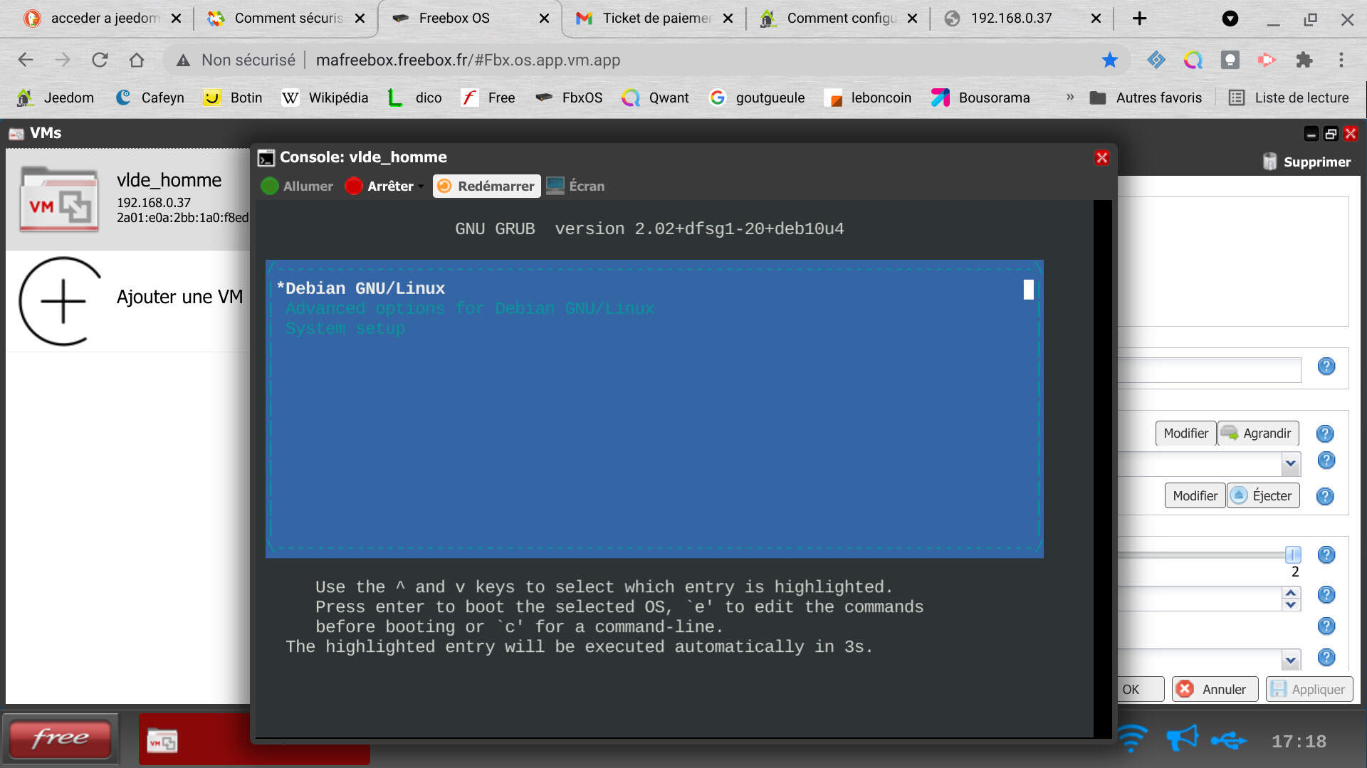 boot vm console shell debian
